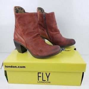 Fly London Hota Suede Ankle Scrunch Booties Sz 37